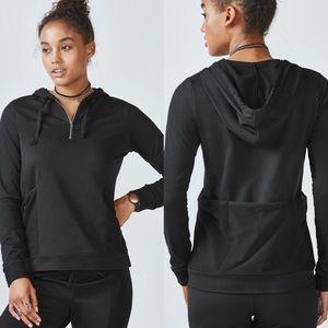 FABLETICS GIGI Black Pullover Hoodie Half Zip M